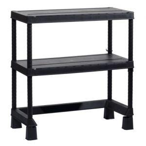 KIS Étagère de rangement Open Base Mini - 90 x 45 x 97 cm - Noir - Dimensions : 90 x 45 x 97 cm - 2 tablettes réglables - Charge : 50 kg / tablette - Noir