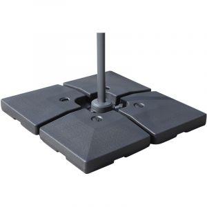 Outsunny Lot de 4 poids de lestage carré pour parasols déportés dim. par dalle 51L x 51l x 12H cm polyéthylène haute densité noir