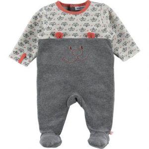 Noukie's Pyjama grenouillère Nouky en velours imprimé gris Gris