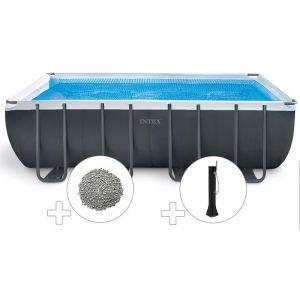 Intex Kit piscine tubulaire Ultra XTR Frame rectangulaire 5,49 x 2,74 x 1,32 m + 20 kg de zéolite + Douche solaire