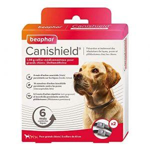 Beaphar Canishield, 1,04 g collier médicamenteux pour grands chiens - deltaméthrine - 2 colliers contre tiques, puces et phlébotomes