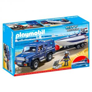 Playmobil 5187 City Action - Fourgon et vedette de police