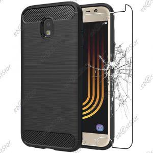 EbestStar Coque Samsung Galaxy J3 2017 SM-J330F [Dimensions PRECISES : 143.2 x 70.3 x 7.9 mm, écran 5''] - Coque Motif Fibre Carbone Luxe 2 barres horizontales Etui Housse Silicone Gel + Film en Verre Trempé, Couleur Noir (ebestPro (Expédié depuis Franc