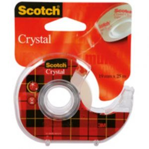 Scotch Ruban adhésif invisible Crystal + dévidoir