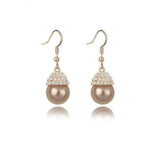 Blue Pearls Bps B301 W - Boucles d'oreilles pendantes perle dorée et cristaux