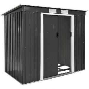 TecTake Abri Maison Cabane de Jardin de Rangement en Métal 2,7 m² Gris