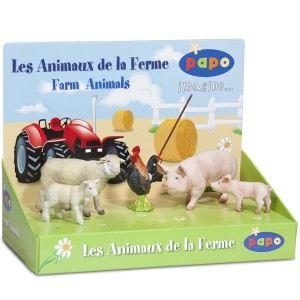 Papo Boîte présentoir de 5 figurines d'animaux de la ferme