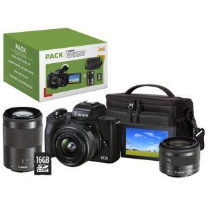 Canon Pack EOS M50 Mark II Noir + EF-M 15-45 mm f/3.5-6.3 IS STM + EF-M 55-200 mm f/4.5-6.3 IS STM Noir + Etui + Carte SD 16 Go