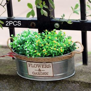 WeWoo Pot de fleur 2 PCS Fer Kegs Rétro Seau Métal Mini Artisanat Floral Moyen Taille