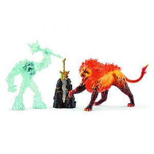 Schleich Figurines Eldrador : Combat pour la super arme : Le monstre des glaces contre le lion de feu