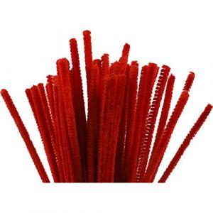 Creotime Lot de 50 nettoyeurs de tuyaux, épaisseur 6 mm, longueur 30 cm, rouge,