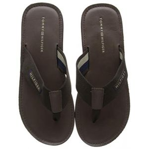 Tommy Hilfiger Elevated Leather Beach Sandal, Tongs Homme, Marron