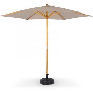 Alice's Garden Parasol Droit Rond en Bois 3m - Cabourg Beige - mât Central en Bois, Ø300cm, système d'ouverture Manuelle, poulie