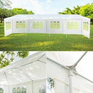 Image de Idmarket Tente de réception blanche tonnelle 3x12m avec 8 côtés