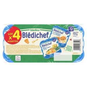 Blédina Blédichef lot de 4 plats purée épinards et saumon du pacifique / petite ratatouille et poissons 920g