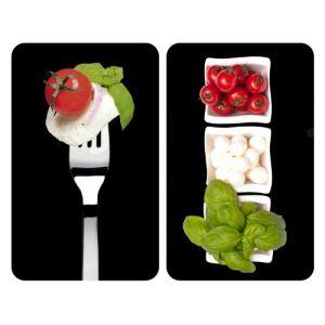 Wenko 2 couvres plaques de cuisson universels imprimé Tomate Mozza Basilic (30 x 52 cm)