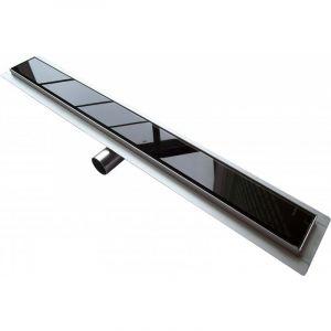 Bernstein Caniveau de sol grand débit pour douche italienne GL01 - grille en verre noir - Longueur sélectionnable: 800mm
