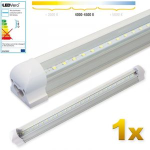 Ledvero 1x LED SMD réglettes lumineuses LED en blanc neutral, T8 G13 couvercle transparent - 60 cm, 8W, 800lm- prêt pour l'installation