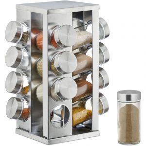 Relaxdays Carrousel à épices, 16 pots en verre, Présentoir à épices inox, rotatif 360°, argenté -