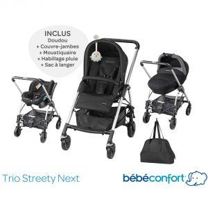 Bébé Confort Streety Next (2015) - Combiné Trio avec poussette, nacelle compacte, siège auto Streety.fix et sac à langer