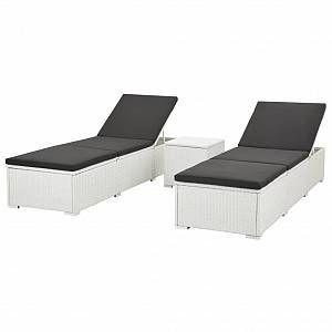 VidaXL Chaise longue d'extérieur 5 pcs Résine tressée Blanc et Noir