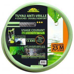 Cap Vert Tuyau d'arrosage anti vrille tricoté 4 couches renforcé D19 L25m