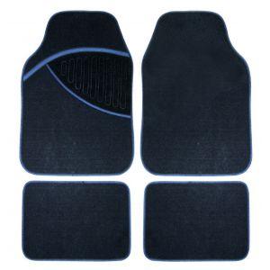 Peraline Tapis de Sol Style Moquette pour Voiture ou Utilitaire Couleur Noir Bleu