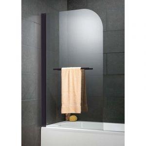 Schulte-ufer Pare baignoire Capri deluxe Schulte paroi de baignoire 80 x 140 cm écran de baignoire 1 volet pivotant pare-douche verre transparent traitement anti-calcaire profilé noir