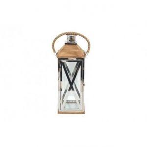 Lanterne métal et bois 15 x 39 cm