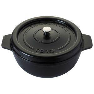 Godin Cocotte ronde en émail - D: 19cm - noir satiné