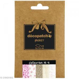 decopatch DP011O - Déco Pocket n°11 : 5 feuilles 30x40 cm, motifs 533, 570, 529, 673, 444
