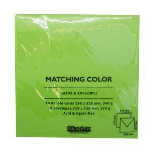 Panduro Enveloppes Cartes Vert printemps - Carrées pré-pliées - Poids 240 g - 155x155 cm - Carrées pré-pliées - Poids 240 g - 155x155 cm - Paquet de 10 enveloppes et 10 cartes