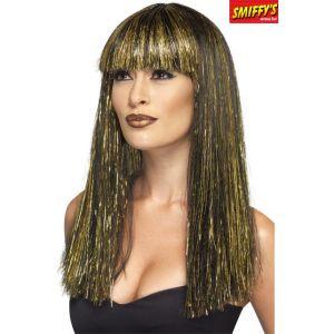 Perruque longue Égyptienne noire et dorée