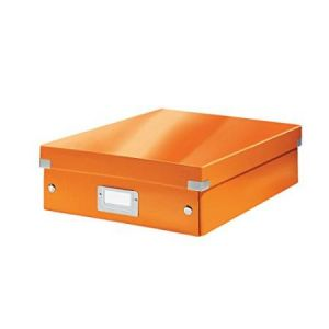 Leitz 6058-00-44 - Boîte de rangement Click & Store, moyen format avec compartiments, en PP, coloris orange métallique