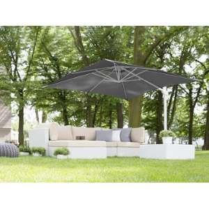 Beliani Parasol de jardin 2,5 m gris foncé et blanc Monza