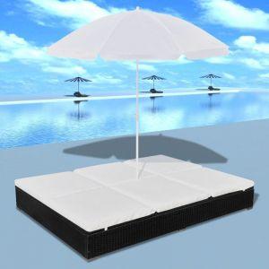 VidaXL Chaise longue avec parasol rotin synthétique noir