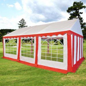 VidaXL Chapiteau de jardin PVC 3 x 6 m Rouge et blanc