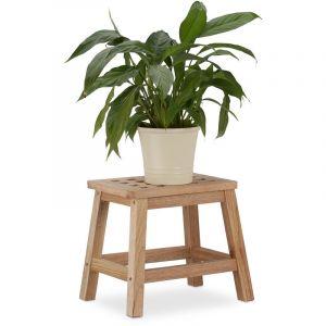 Relaxdays Tabouret repose-pied en bois support pour pot de fleurs et plantes en noyer HxlxP: 25,5 x 29,5 x 22 cm, nature