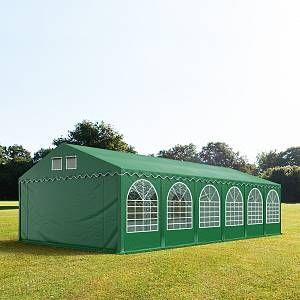 Intent24 Tente de réception 6x12 m - anti-feu H. 2,6m vert fonce PVC 550g/m² pavillon 100% imperméable.FR