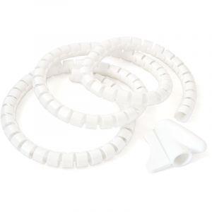 Relaxdays Porte-câbles Serre-câbles Protection fils Organiseur de câble range-câble, blanc - 4052025171865