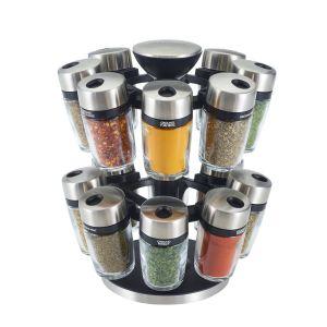 Cole & Mason Carrousel à épices 16 flacons verre et acier Blanc Cole and Mason