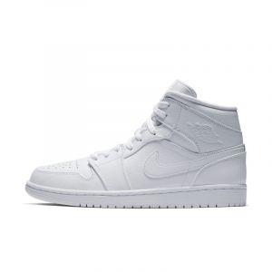 Nike Chaussure Air Jordan 1 Mid pour Homme - Blanc - Couleur Blanc - Taille 45.5