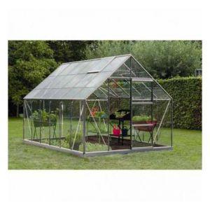ACD Serre de jardin en polycarbonate Intro Grow - Olivier - 9,90m², Couleur Gris, Base Avec base, Filet ombrage oui, Descente d'eau 2 - longueur : 3m84