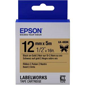 Epson LK-4KBK - Ruban satin 12 mm x 5 m noir sur or pour étiqueteuse