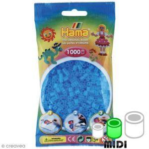 Hama Sachet de 1000 perles Midi Bleu transparent