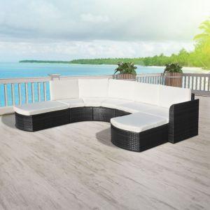 VidaXL 16 pièces de mobilier de jardin en rotin poly