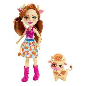 Mattel Enchantimals Mini-poupée Cailey Vache et Figurine Animale Curdle, aux Longs Cheveux Roux, avec Jupe Amovible et Bottes, Jouet pour Enfant, FXM77