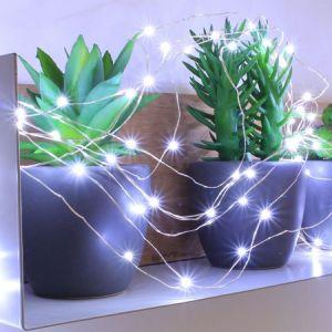 Blachère illumination Guirlande branchage micro led blanc pur pilotable avec télécommande