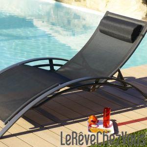 Bain de soleil aluminium et textilène multi positions