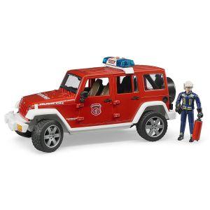 Bruder Toys 02528 Jeep Wrangler Unlimited Rubicon Véhicule de Pompier avec Figurine